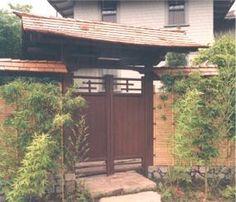 draped roof Japanese gate