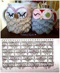 Cadenitas y lazadas: ♥ PAP Owl Cup Cozy Crochet Diagram, Crochet Motif, Crochet Chart, Crochet Designs, Crochet Patterns, Crochet Coffee Cozy, Crochet Cozy, Crochet Gifts, Mug Cozy Pattern