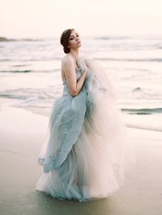 Blue wedding dress with tulle | A Truly Special Something Blue: Your Wedding Dress? via @onefabday