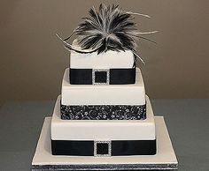 black and white with rose red accents wedding | Black and White Feather Cake