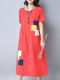 Brand: No Specification: Sleeve Length:Short Sleeve Neckline:O-neck Color:White,Orange Red Style:Vintage Dress Length:Mid-Calf Pattern:Patchwork Material:Cotton Season:Summer Package included: Red Fashion, Fashion Dresses, Vintage Fashion, Fashion 2017, Womens Fashion, Vintage Style Dresses, Style Vintage, Vintage Outfits, Agbada Styles