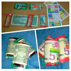 A little extra for the onboard staff. Gum/candy wrapped in tip money and sealed with motivational stickers.