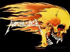 Metallica - Skull and Flames Póster en tela