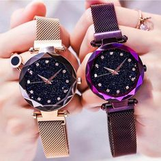 851c0aa77991 De lujo de oro rosa reloj de las mujeres cielo estrellado cielo magnético  de malla de
