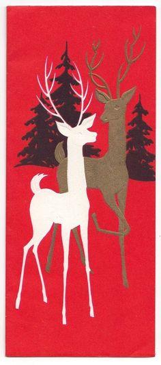 Vintage Greeting Card Christmas Deer Reindeer Mid-Century Silhouettes