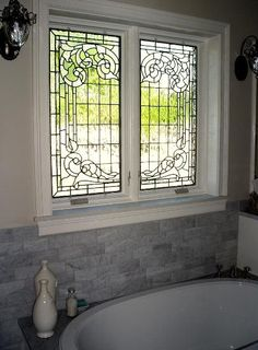 stained glass for the bathroom privacy beauty
