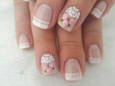 today we are here sharing and talking about the lace nail art ideas Lace Nail Design, Lace Nail Art, Lace Nails, Flower Nails, Pink Nails, Hair And Nails, My Nails, Manicure E Pedicure, Creative Nails