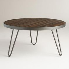 Round Wood Hairpin Coffee Table