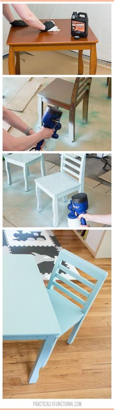 Paint wood furniture without having to sand or prime it first! So easy to do, just add Oil Bond to the paint and it sticks to the furniture without sanding!  #ad