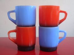 Retro Red & Blue Fire King Stackable Mugs