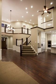 staircase that does NOT walk you out the front door!love the openness of the house. I think I will design my future house like this Future House, My House, Open House, House Inside, Ideal House, Awesome House, House Roof, Traditional Family Rooms, Traditional Staircase