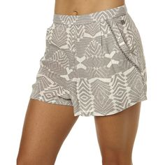 Womens Rip Curl Solstice Womens Short Grey Cotton (36 AUD) ❤ liked on Polyvore featuring shorts, grey, printed shorts, women, rip curl, gray high waisted shorts, high waisted cotton shorts, highwaist shorts and high waisted shorts