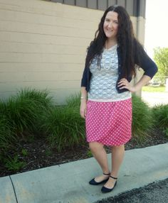 Just Another Smith: H&M white lace tee, Gap navy cardigan, pearls, Chaus pink polka dot skirt, Old Navy navy ankle strap flats
