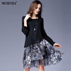 9750bbbe86543 MUSENDA Plus Size Women Chiffon Print Draped Long Flare Sleeve Dress 2017  Autumn Female Sweet Party Dresses Vestido Clothing