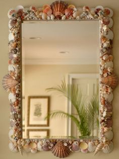 Seashell Mirror for the entry. I couldn't decide whether the white Greek Key Round mirror would be best or this one with all the shells. Seashell Art, Seashell Crafts, Beach Crafts, Home Crafts, Seashell Frame, Seashell Projects, Madeira Beach, Shell Beach, Beach House Decor