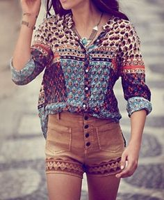 shirt hipster shorts blouse-I have some green shorts I would love to do this to.