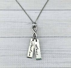 Pewter Name Tag And Infinity Necklace