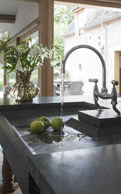 Kitchen, bluestone sink image via 't Achterhuis Historic Building Materials, The Netherlands, (Project 8) as seen on Source Sharing, linenandlavender.net, http://www.linenandlavender.net/2013/02/source-sharing-t-achterhuis-nl.html