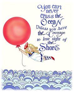 Nautical Nursery Art Red balloon girl Archival by wonderlaneart