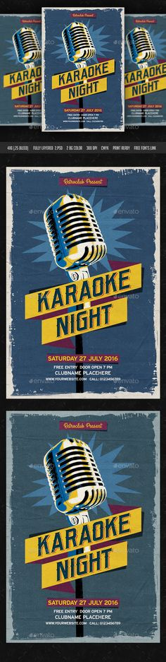 Karaoke Night — Photoshop PSD #postcard #rock music • Available here → https://graphicriver.net/item/karaoke-night/10938216?ref=pxcr