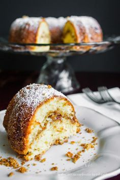 This Cinnamon Sour Cream cake has the density of a pound cake and is super moist. The cinnamon center is a nice surprise when you cut into the cake. Plus there is the added bonus of the brown sugar crumble on the bottom if your are sweet crumbs kind of person!