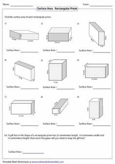 volume and surface area of rectangular prisms two worksheets 1 10 new math worksheet. Black Bedroom Furniture Sets. Home Design Ideas