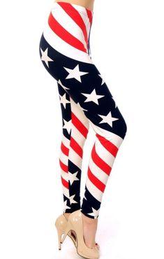 3047e7464c0f Women s American Flag Printed Leggings  OS and Plus