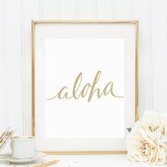 Aloha Print, Gold Wall Art, Gold Print, Gold Aloha, Digital Prints, Printable Art, Summer Wall Art, Coastal Art, Beach House Decor