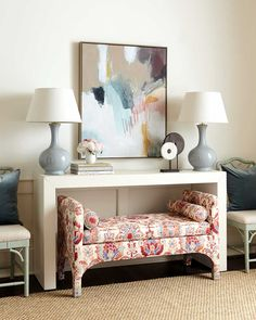 Large abstract art print hung over a white console table Foyer Decorating, Decorating Tools, Decorating Your Home, Interior Decorating, Interior Design, White Console Table, A Table, Console Tables, Family Room