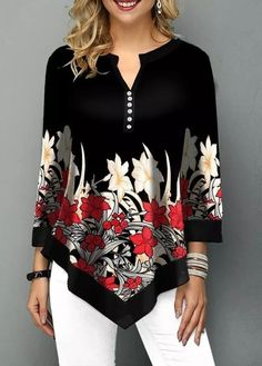 Stylish Tops For Girls, Trendy Tops, Trendy Fashion Tops, Trendy Tops For Women Stylish Tops For Girls, Trendy Tops For Women, Look Fashion, Trendy Fashion, Womens Fashion, Shirt Bluse, Floral Blouse, Floral Sleeve, Ladies Dress Design