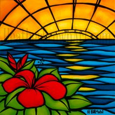 sunset_art_by_hawaii_surf_artist_heather_brown - Stained Glass Style