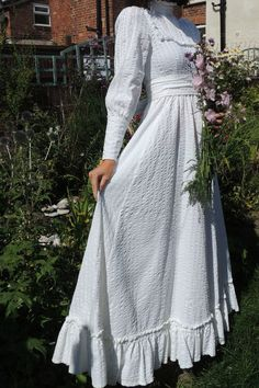 Vintage LAURA ASHLEY Romantic Victorian Edwardian 1970s WEDDING Dress Sz 8 / 10 | eBay