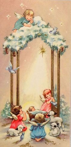 The Angels adoring Jesus :: Vintage Christmas card