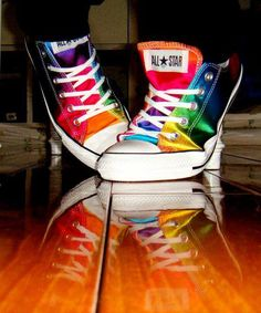 Rainbow Converse All-Star shoes Converse All Star, Rainbow Converse, Cool Converse, Converse Sneakers, High Top Sneakers, Vans, Rainbow Shoes, Rainbow Stuff, Fashion Shoes