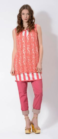 Dressing in #layers #striped #dress and #lace dress #orange