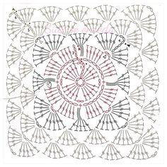 Crochet Squares, Granny Square Crochet Pattern, Crochet Diagram, Crochet Chart, Crochet Stitches, Crochet Instructions, Crochet Tablecloth Pattern, Crochet Motif Patterns, Motifs Granny Square