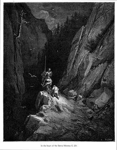 """""""In the heart of the Sierra Morena."""" (from """"Don Quijote"""") illustration by… Gustave Dore, Claude Monet, Dom Quixote, Define Art, Illustration Artists, Illustrations, Graphic Illustration, Scratchboard, Art Database"""