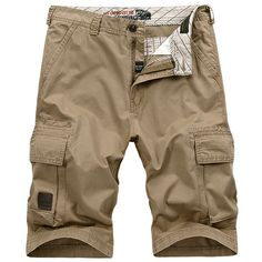 AFSJEEP Summer Casual Vintage Multi-Pocket Plus Size Sport Fifth Cargo Shorts For Men