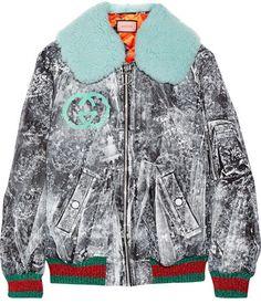 Gucci - Shearling-trimmed Painted Gabardine Bomber Jacket - Black