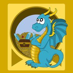 Cartoon blue dragon