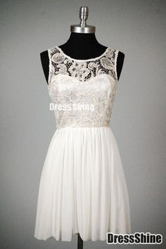 A Line Scoop Lace Chiffon Graduation Dresses - Sweet 16 Dresses - Homecoming | Cocktail | Party