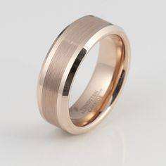 8mm Rose Gold Tungsten Wedding Band