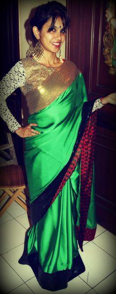 Sari saree by Ayush Kejriwal Bridal Sari, Indian Bridal Lehenga, Indian Sarees, Indian Attire, Indian Wear, Indian Dresses, Indian Outfits, Modern Saree, Stylish Sarees