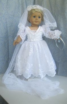 Recycled Bride Fits American Girl 18 inch dolls by dollthreads