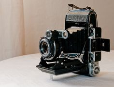 Moskva-2 camera, built at the KMZ factory in Russia in 1955. It is a 6x9 medium format camera with a coupled rangefinder and a 110/4.5 Tessar-formula lens.   It is fully funcional and being put to good use.