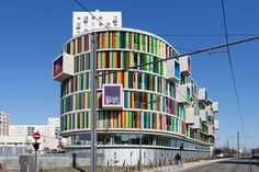 The imaginative mind of Bernard Bühler is once again portrayed in his design for the Rainbow Residence Arc En Ceil, located in Bordeaux. As with most of Bühler' Colour Architecture, Creative Architecture, Futuristic Architecture, Interior Architecture, Unusual Buildings, Interesting Buildings, Amazing Buildings, Lanscape Design, High Rise Building
