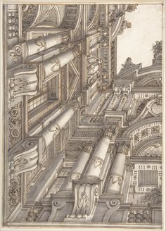 Attributed to Ferdinando Galli Bibiena | Foreshortened or Trompe L'Oeil View of the Architecture Surrounding a Courtyard | The Metropolitan Museum of Art