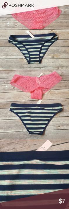 new Victoria secret pantie NWT navy blue and color striped panties , pink lace panties Victoria's Secret Intimates & Sleepwear Panties