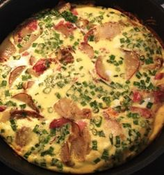 Ham & Potato Frittata 2 Tbsp olive oil 2 lbs. Potatoes 1 bunch Green onions 1/2 lb Deli ham Salt & pepper to taste 8 large eggs 2 tbsp dry Italian seasoning ½ cup milk ¼ cup grated parmesan cheese