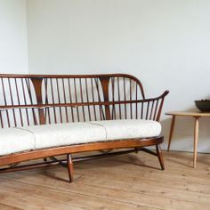 vintage Ercol Double Bow Bergere Chairmakers sofa  1960s ●
